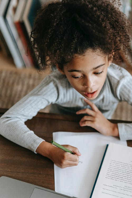 Smart ethnic child doing homework using netbook