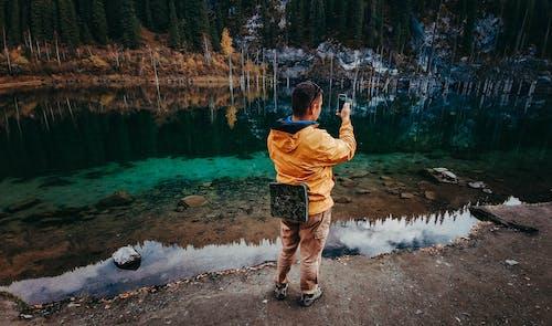 Free stock photo of blue, hiker, lake