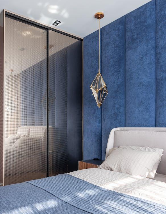 Modern bedroom with big wardrobe