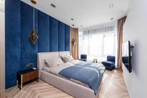 Contemporary bedroom with big bed