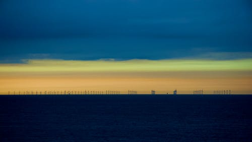 Free stock photo of layers of colour, north sea, silhouette