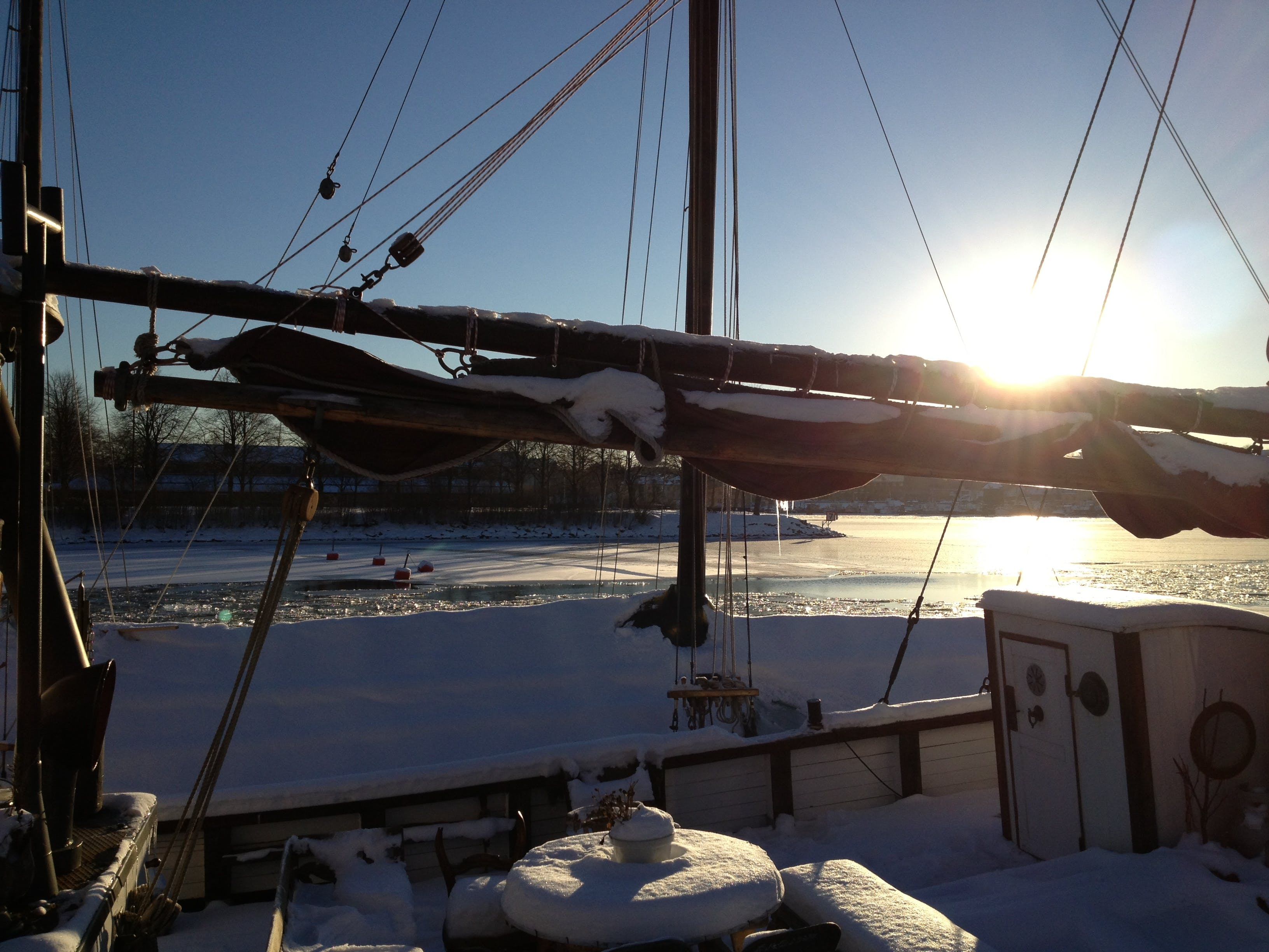 Free stock photo of sun, boat, winter, ice