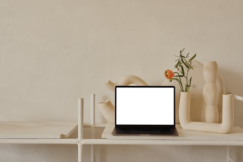 Netbook placed on shelf near ceramic curved vases and flowers