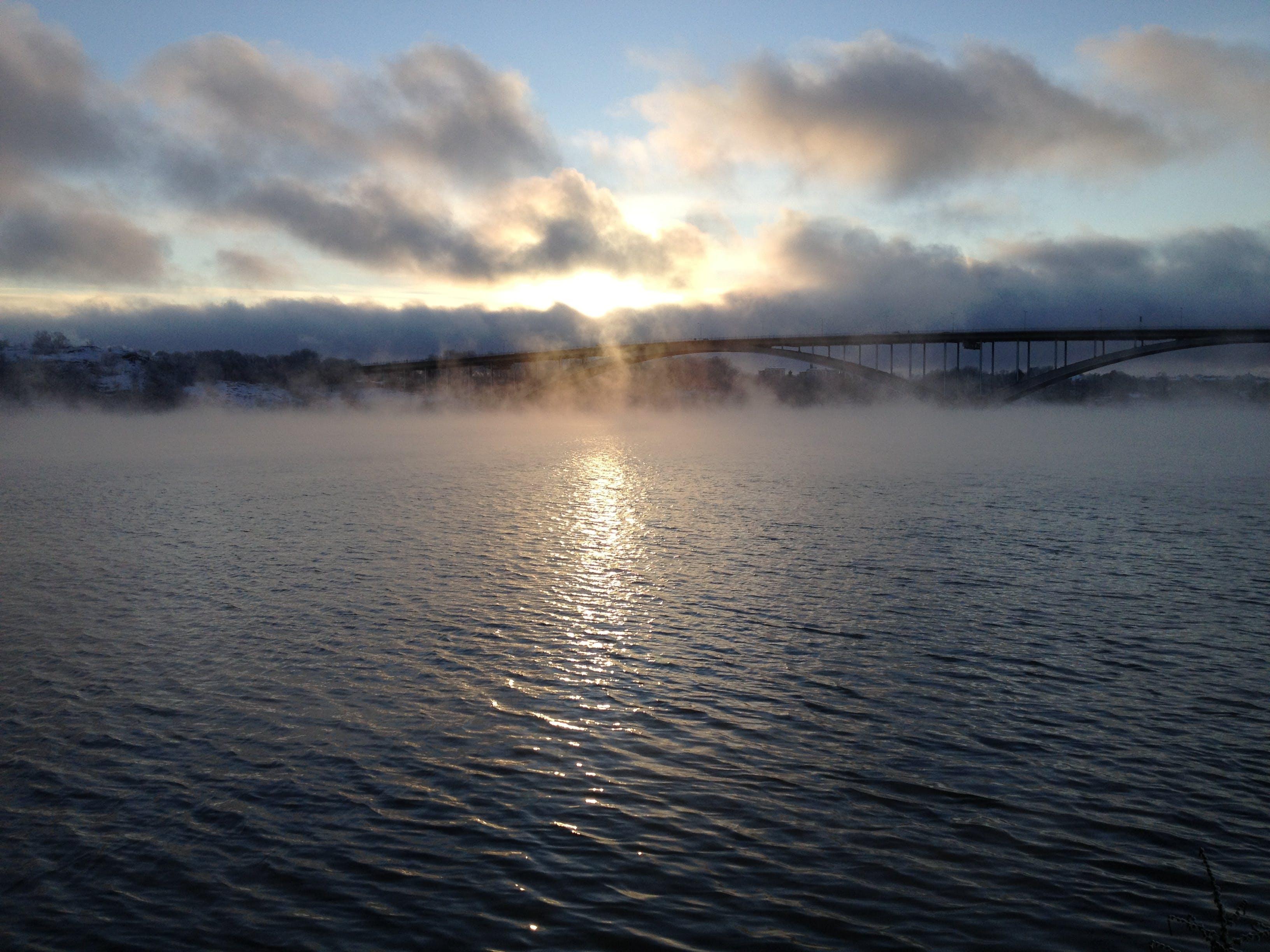 Free stock photo of bridge, fog, sky, sun