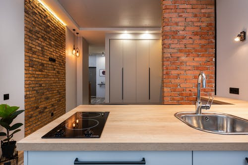 Interior of modern apartment with kitchen counter