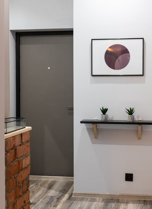 Bright house interior with shelf with small green succulent plants in pots near gray door in hallway