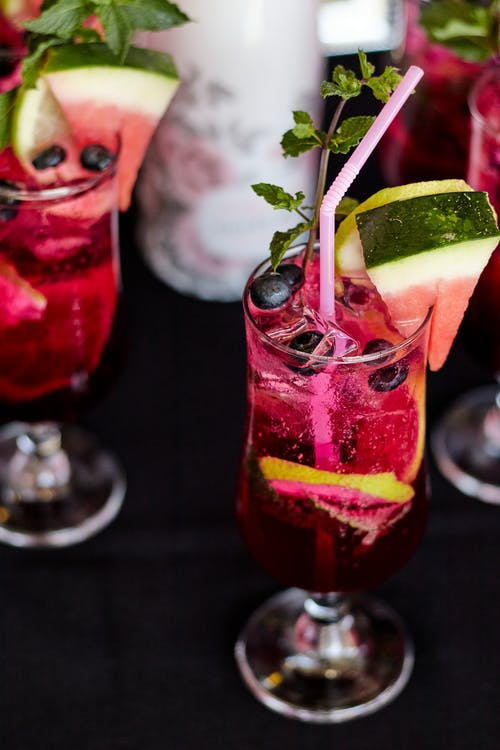 Close-Up Shot of Glasses of Cocktail Drinks