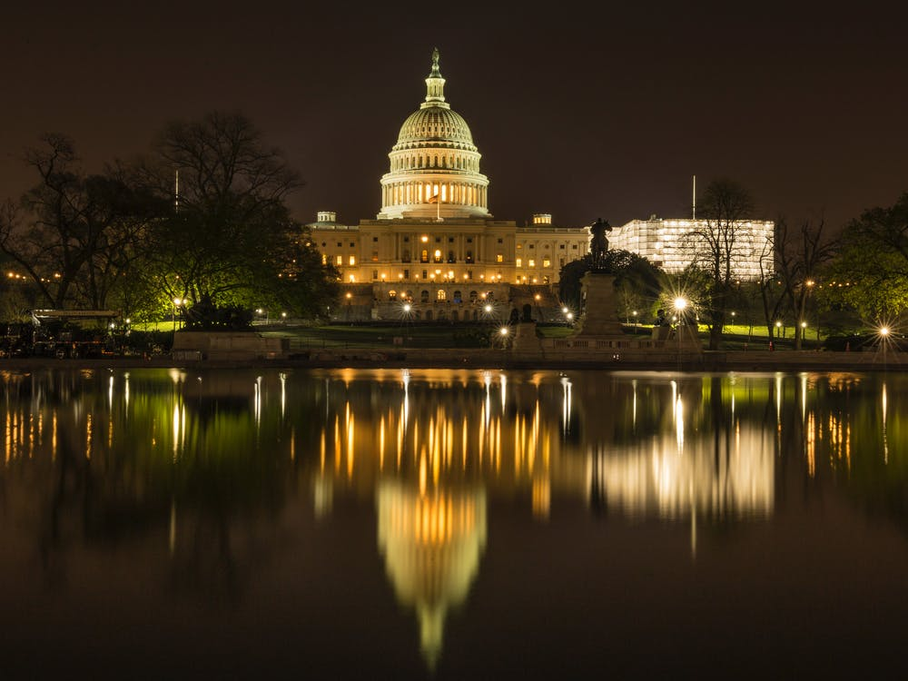 The US Capitol White House near a Lake at Night