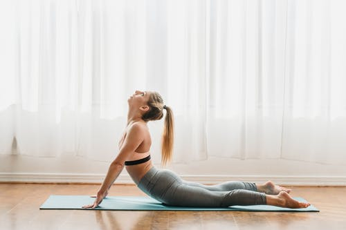 Side view of fit young female in sportswear increasing spine flexibility while performing High Cobra asana during yoga session in light studio