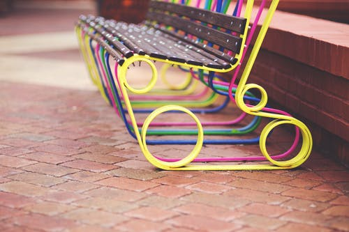 Colorful design bench on the street