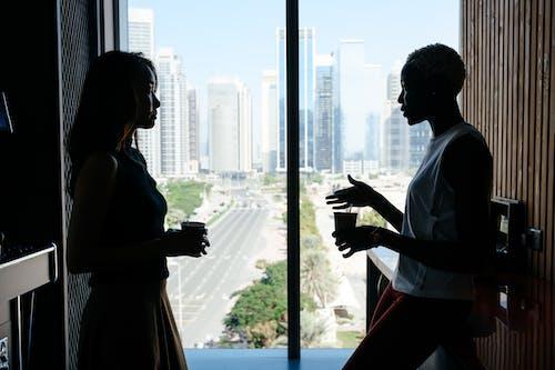 Multiethnic women talking about business project in modern office