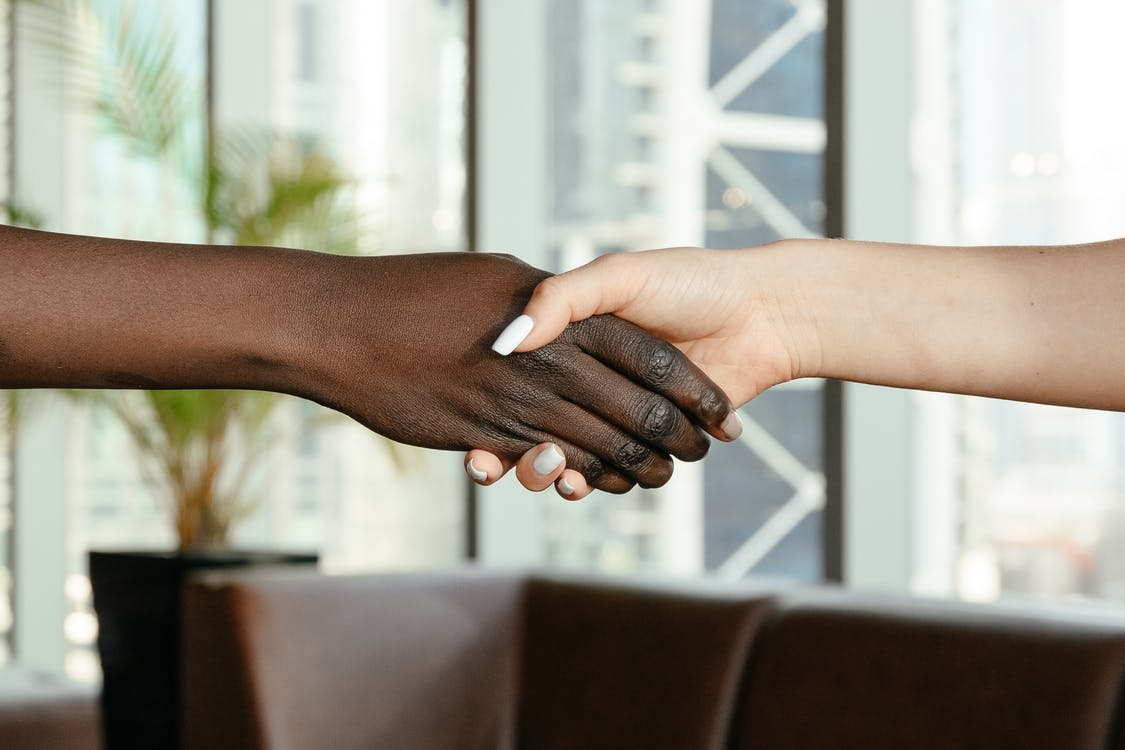 Crop anonymous diverse women shaking hands together on blurred background of contemporary office