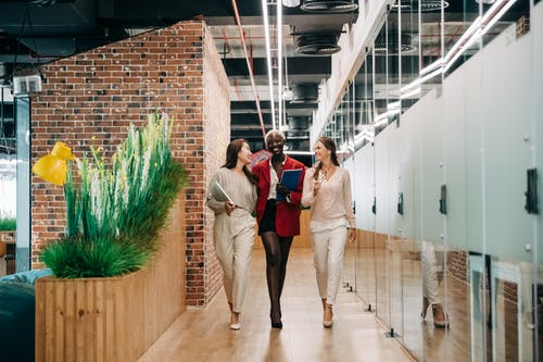 Multiethnic businesswomen walking and discussing successful project in contemporary office