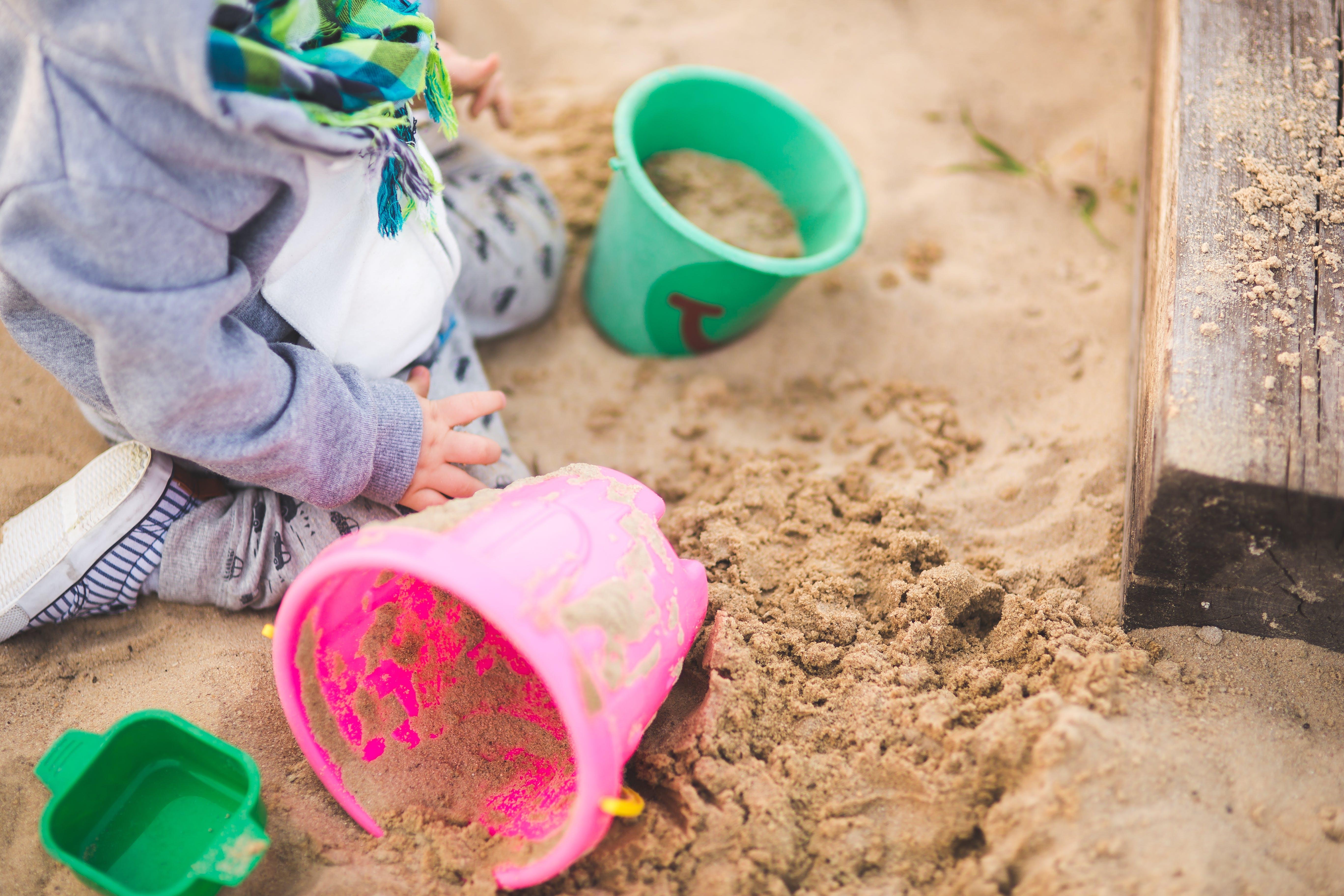 cát, chơi, con trai