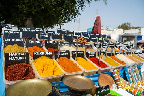 Assorted spices in local market