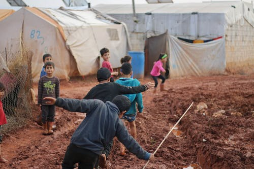 Ethnic kids in refugee camp