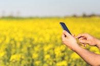 man, field, smartphone