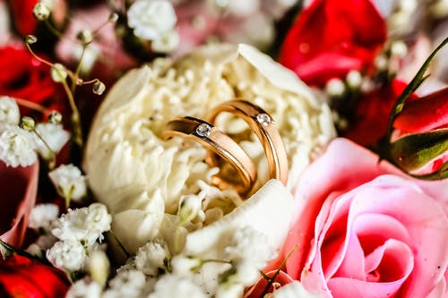 Gold Wedding Band on White and Pink Roses