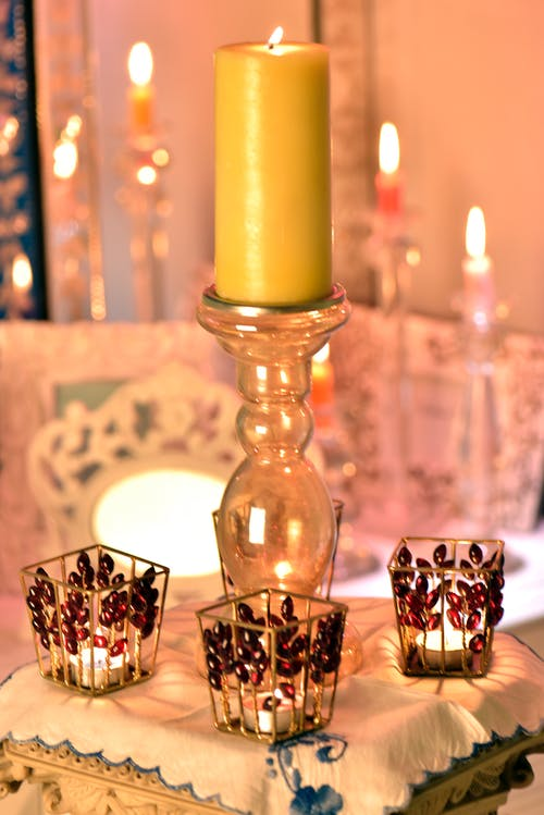 Free stock photo of burning candle, candle, candle holder