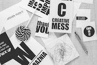 black-and-white, creative, desk