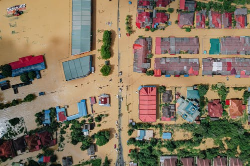 Flooded small village with residential houses