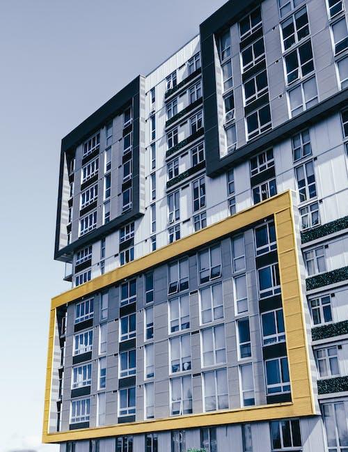 Facade of contemporary geometric building on city street