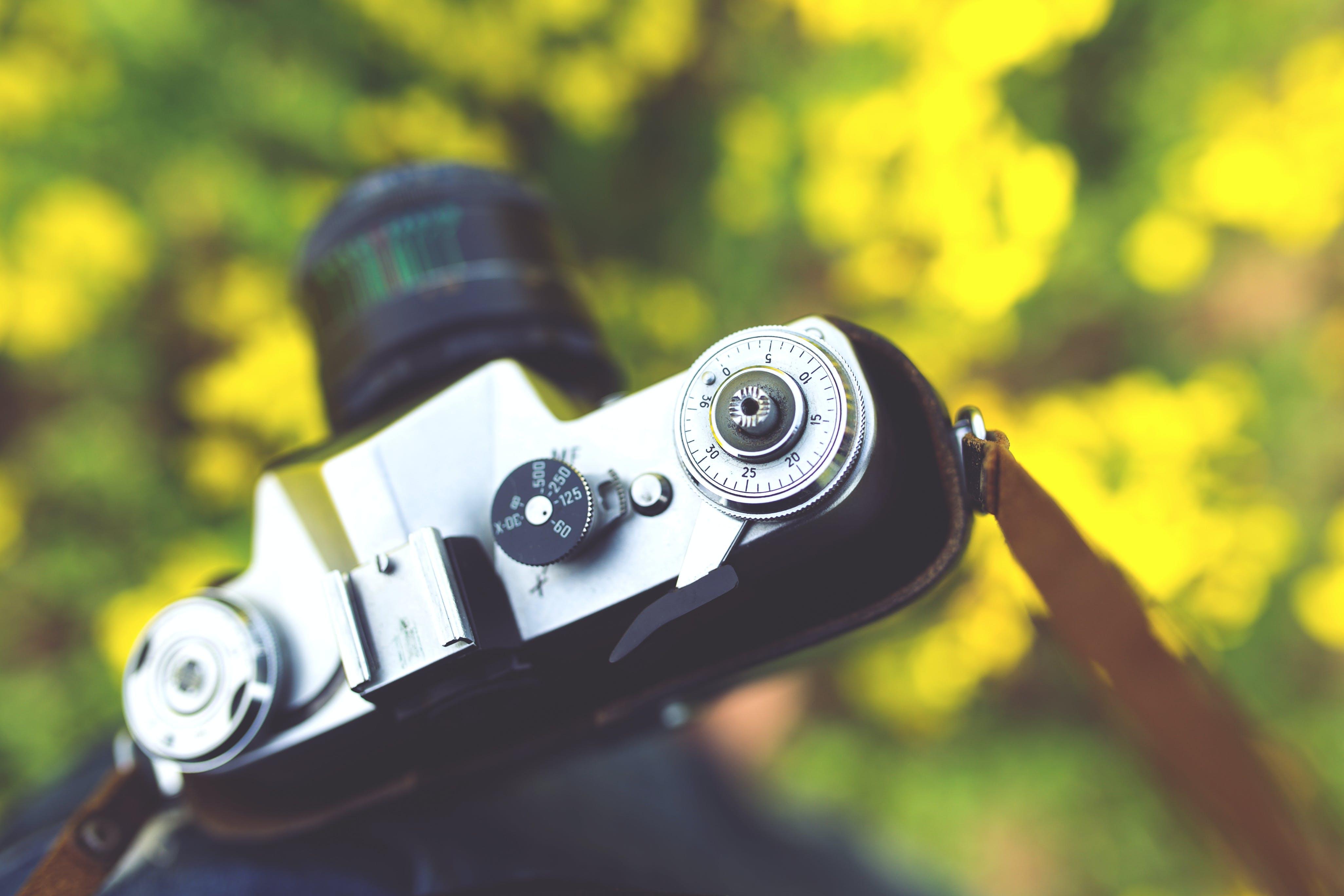 Closeup of vintage camera