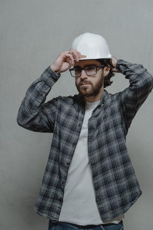 Man Wearing White Hard Hat