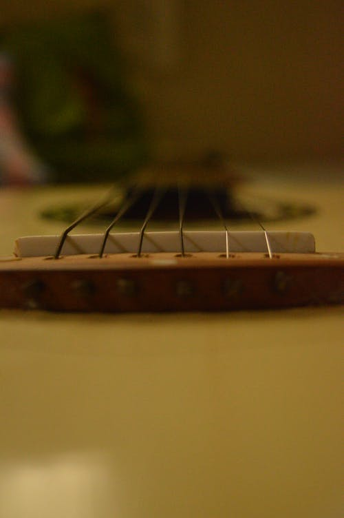 Free stock photo of acoustic guitar, bowed stringed instrument, brown