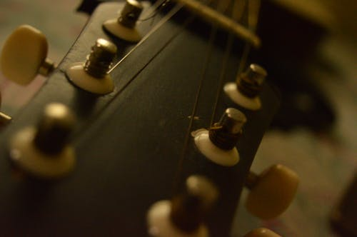 Free stock photo of acoustic guitar, brown, close uo