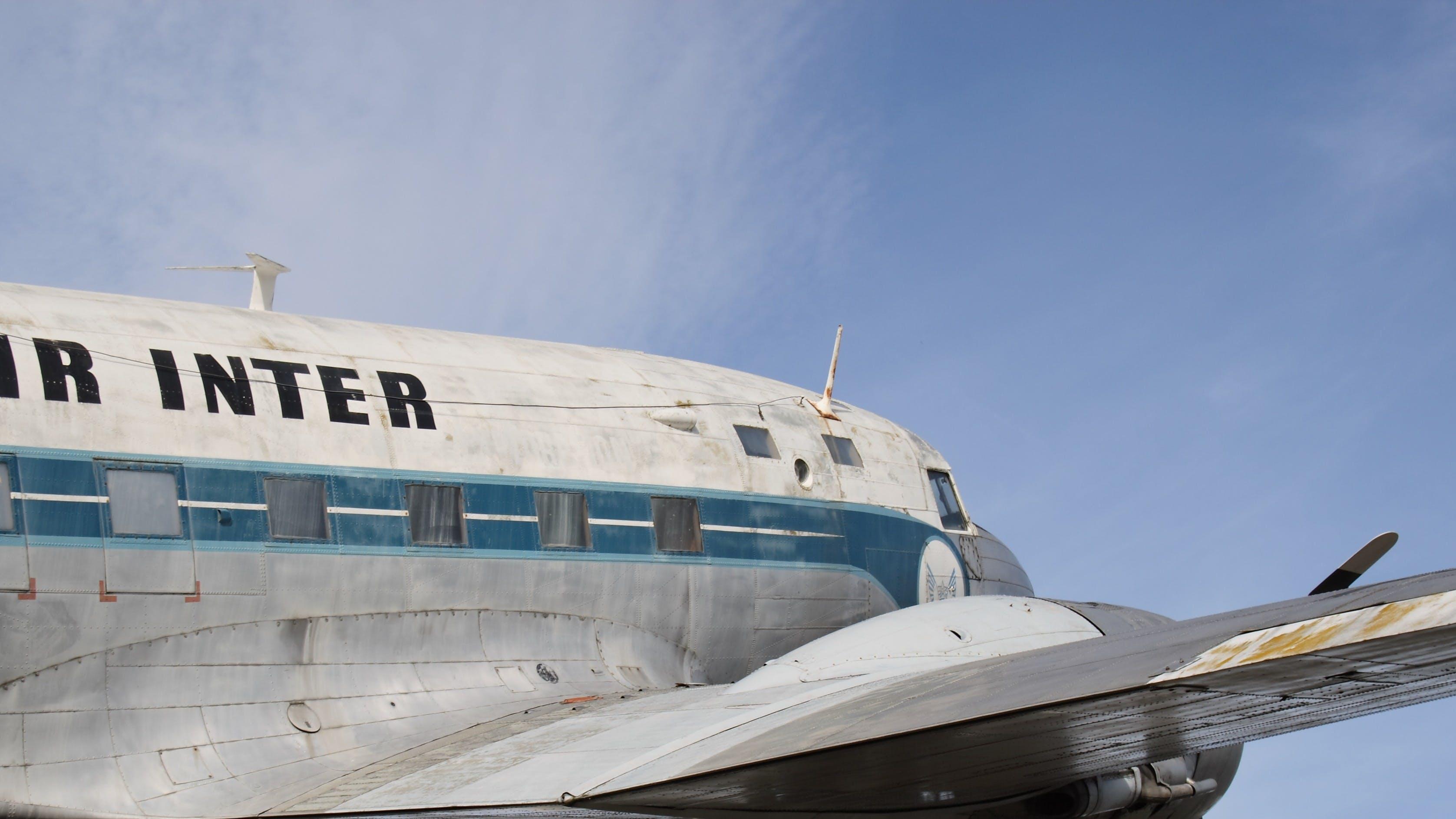 White Gray Teal Air Bus Under Blue Sky