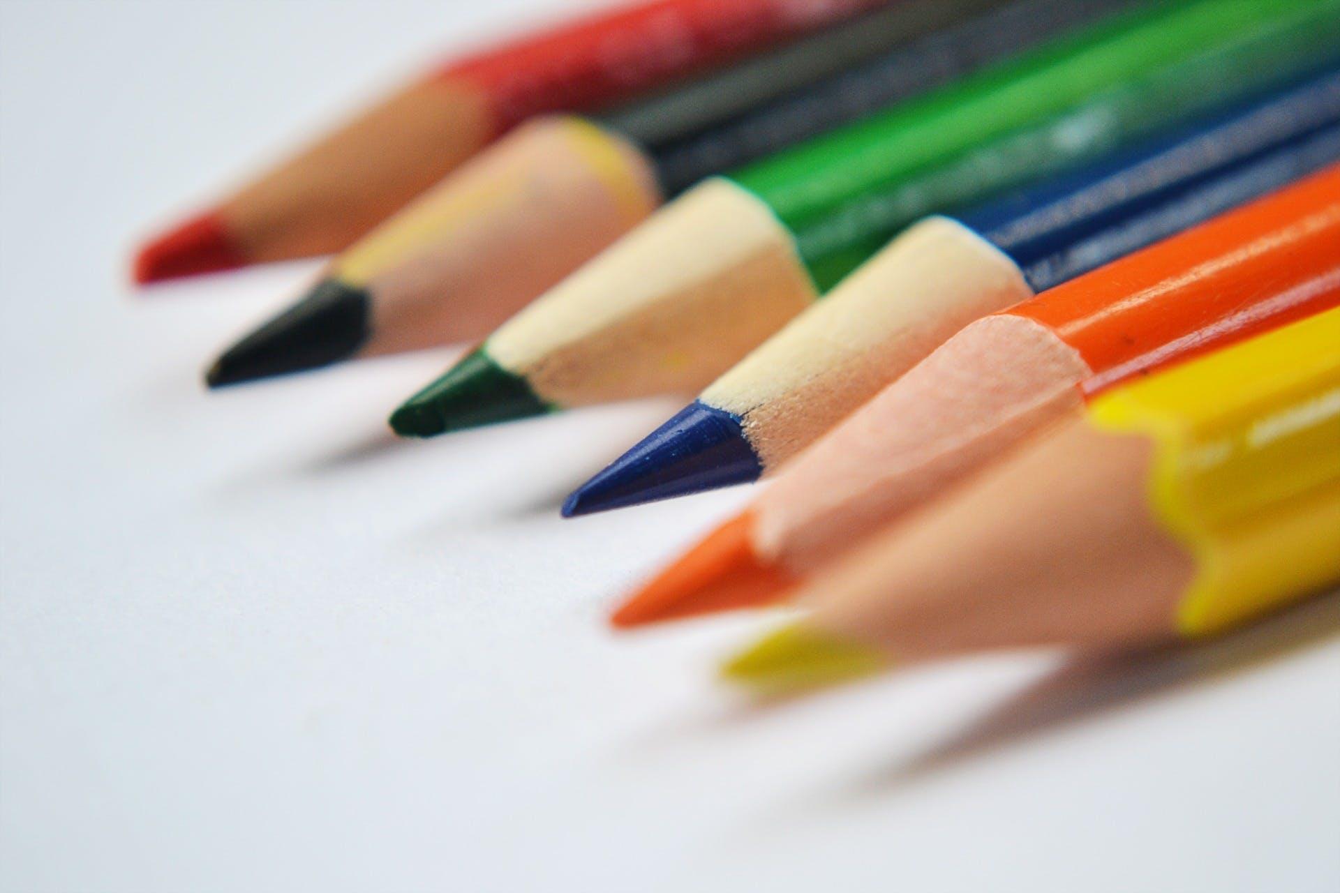 blur, close-up, colored pencils