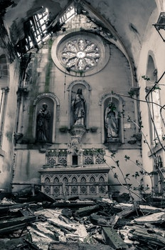 Religious Statue in Greyscale Photo