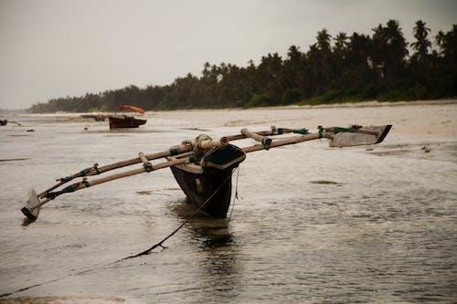 Fishing boat on water of river in Zanzibar