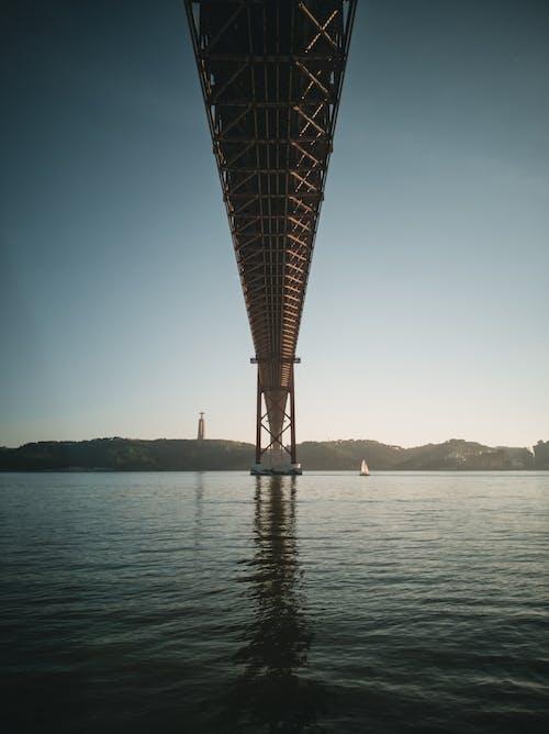 Bridge over vast rippling river in countryside