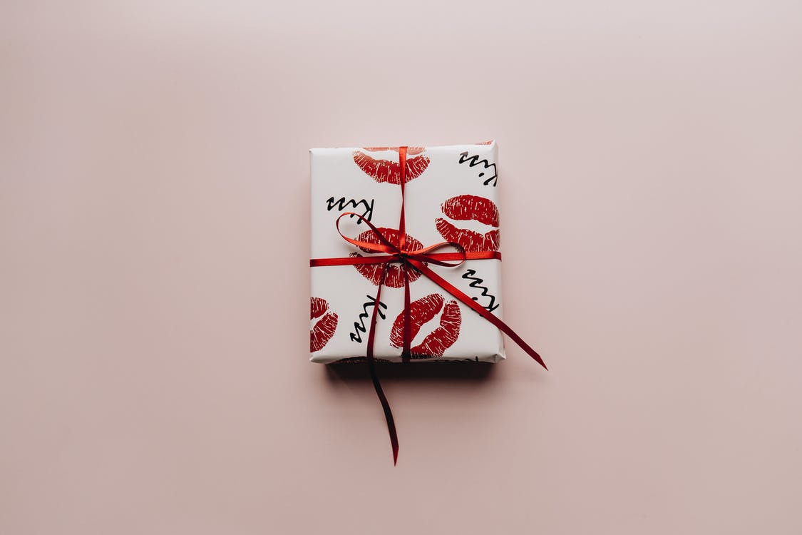 White and Red Kiss Wrapping Paper