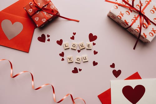 Love You Text and Gifts on the Table