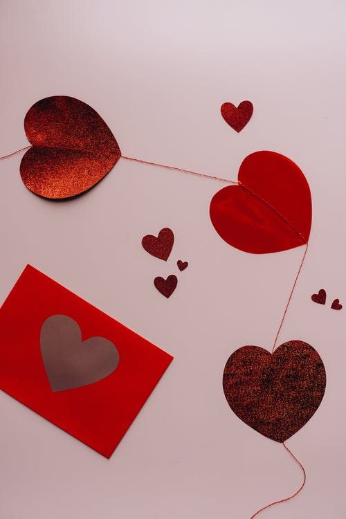 Hearts and Red Envelope with Heart