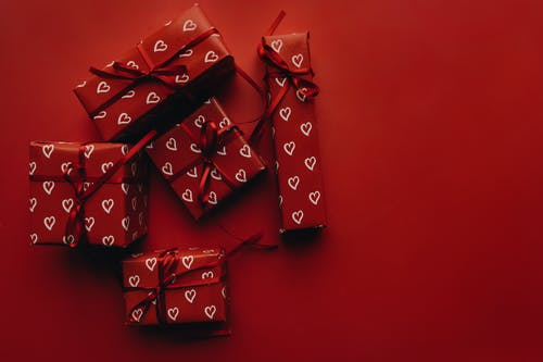 Red Gifts on Red Surface