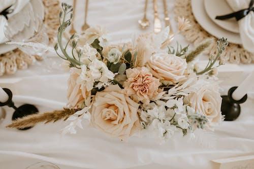 Weiße Rosen Auf Weißem Textil