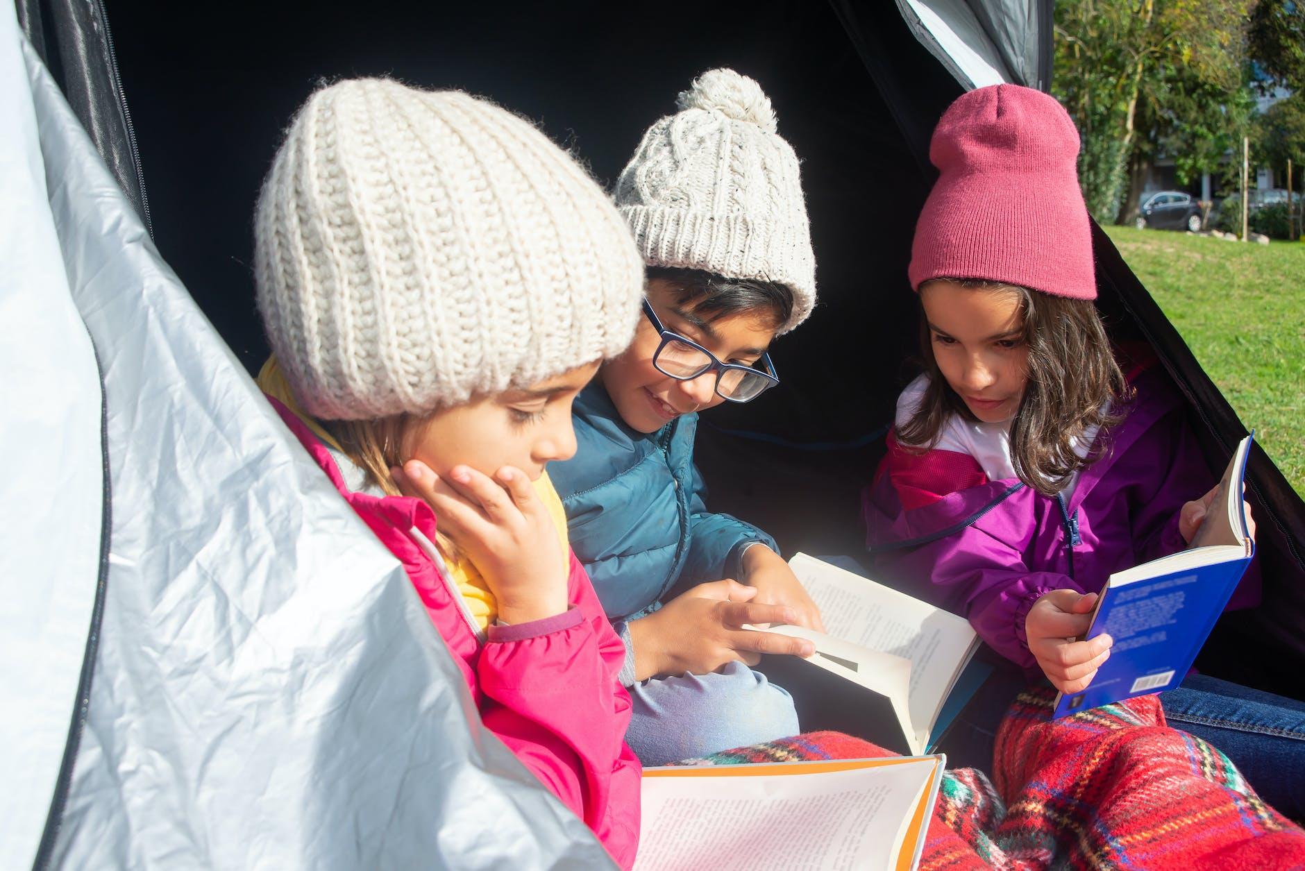 Children mingling at winter camp