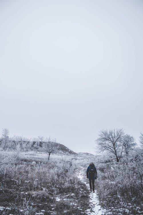 Faceless person walking on snowy field