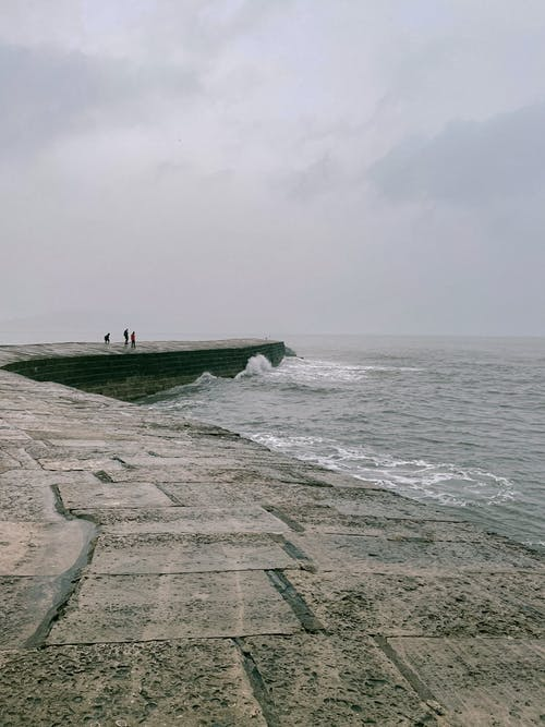 People Walking on Gray Concrete Pathway Beside Sea
