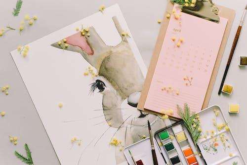 Painting Of Easter Bunny Near A Calendar