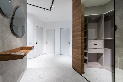 Spacious corridor with wardrobe at home