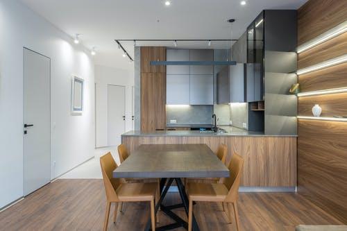Modern kitchen counter with table