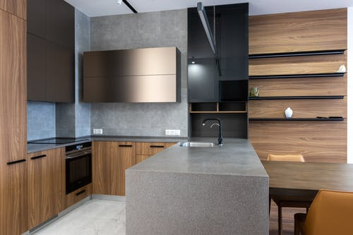 Interior of modern kitchen with counter