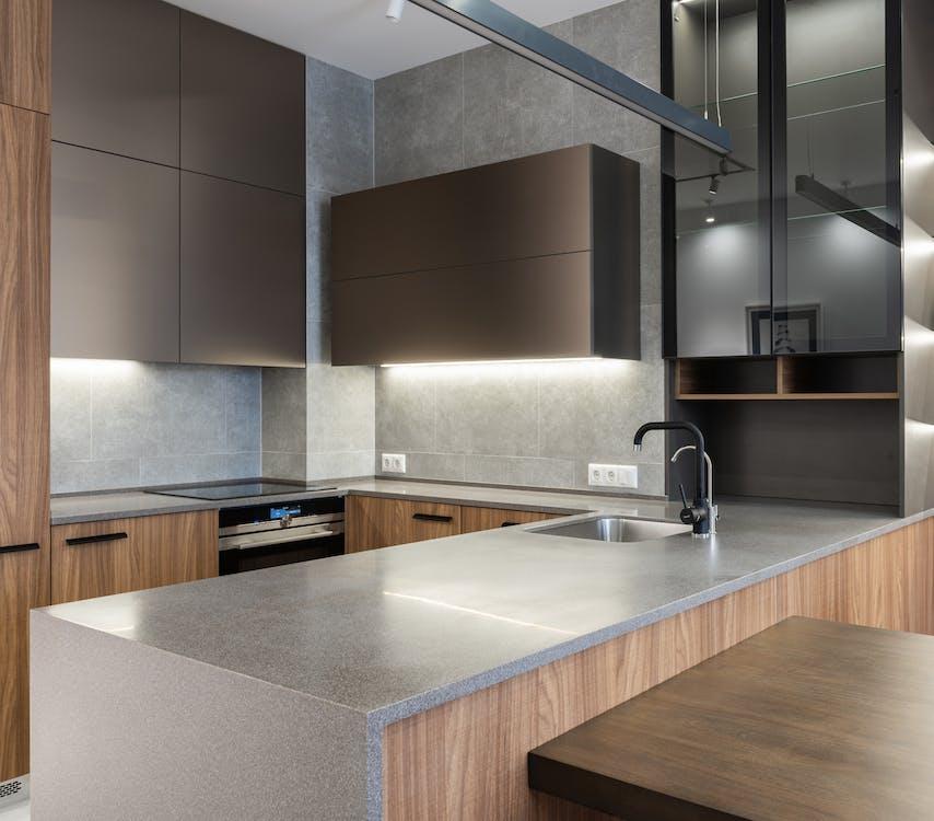 Modern kitchen counter with sink