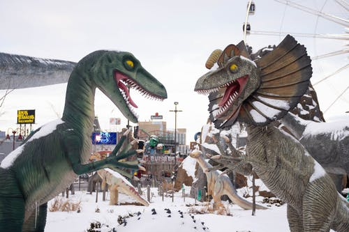 Dinosaur Statue and Dragon Statue on a Theme Park