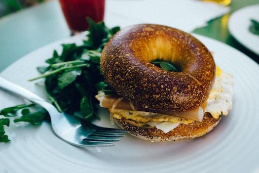 Free stock photo of food, breakfast, fork, bagel